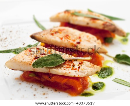 BBQ Fillet of Fish with Vegetables and Greens
