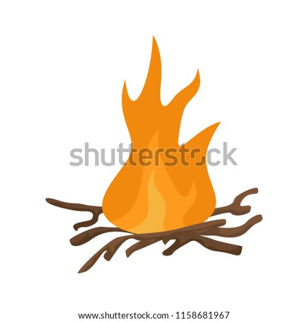 Bbq fire icon. Flat illustration of bbq fire icon for web isolated on white