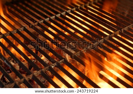 bbq grill with glowing coals...