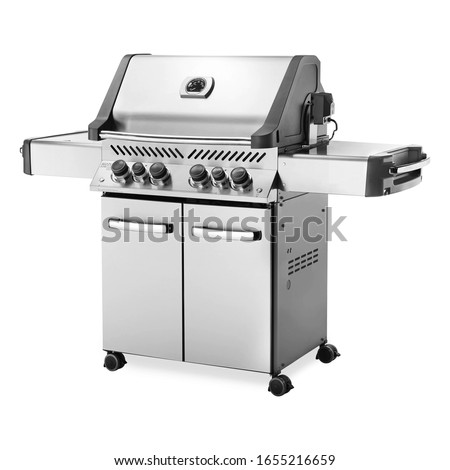 BBQ Grill with Side Burners Isolated on White. Portable Stainless Steel & Black BBQ Grillware Stove. Outdoor Cooking Station. Charcoal Kettle Barbecue Grill. Outdoor Major Kitchen Appliances Side View