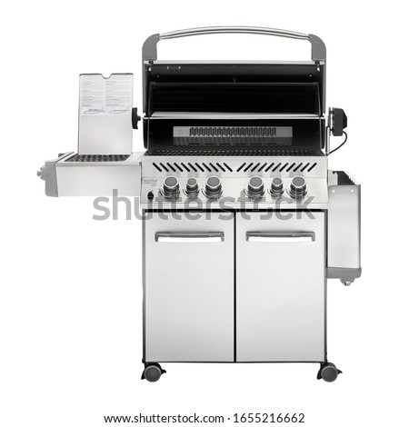 BBQ Grill with Side Burners Isolated on White. Portable Stainless Steel Black BBQ Grillware Stove Front View. Outdoor Cooking Station. Charcoal Kettle Barbecue Grill. Outdoor Major Kitchen Appliances