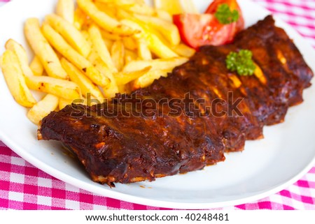 BBQ marinated spareribs and fries