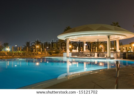 BBQ night cafe by the pool - stock photo