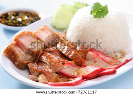 BBQ Pork, Duck and Crispy Pork over Rice with Sweet Gravy Sauce (Kao Che Po)
