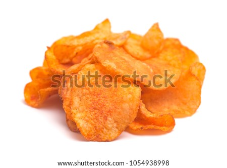 BBQ Potato Chips on a White Background