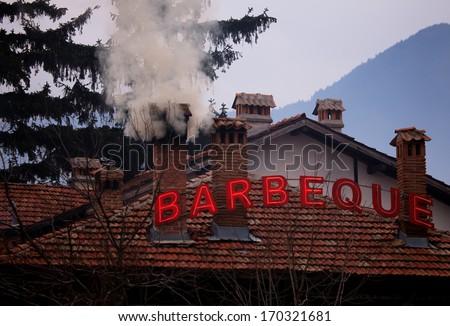 BBQ restaurant in authentic old house in resort of Bansko, Bulgaria