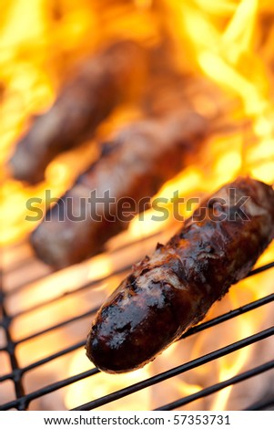 BBQ sausages on the grill. Shallow DOF