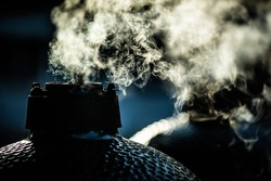 bbq smoker at the morning sun