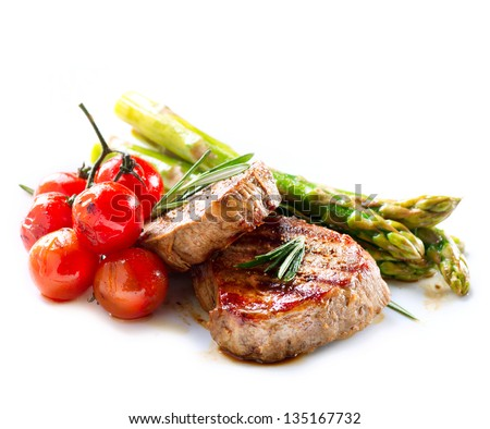 BBQ Steak. Barbecue Grilled Beef Steak Meat with Vegetables. Healthy Food. Barbeque Steak Dinner #135167732