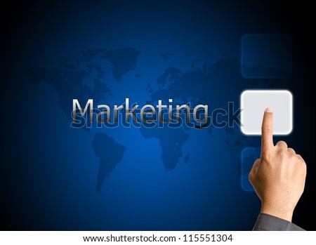 bbusinessman hand pressing Marketing button on a touch screen interface