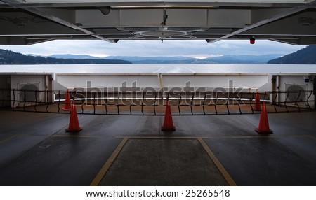 BC Ferry car deck looking aft towards Vancouver Island