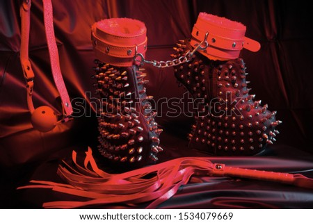 BDSM,sexual toys and shoes for women.Adult sex games lifestyle concept.Sensual and orgasmic.