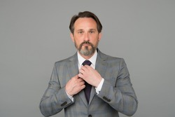 Be exclusive, be yourself. Ceo fix tie grey background. Formal fashion style. Formalwear. Fashion look of mature man. Mens wardrobe. Fashion store. Classy fashion. Classic never goes out of style.