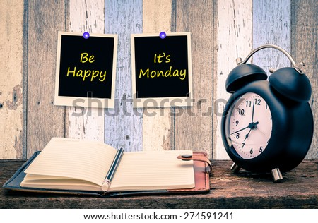 Be happy ,It\'s Monday on paper note at wood  wall