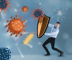 Be healthy - boost your immunity. Man blocking viruses and bacteria with shields, illustration