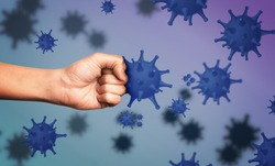 Be healthy - boost your immunity to fight with illness. Man showing clenched fist surrounded by viruses, closeup