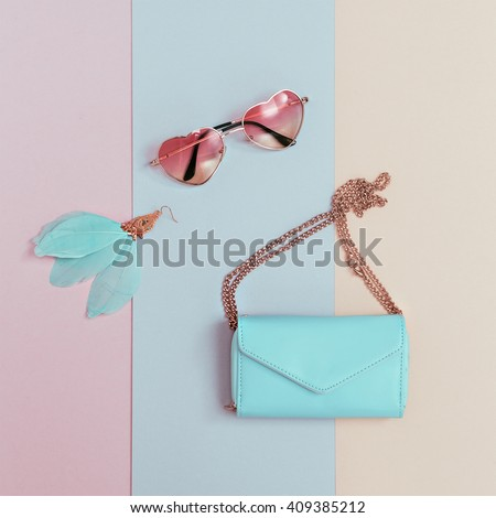 Be Pastel Trend. Fashionable Women\'s Accessories. Earrings, Sunglasses, Clutch. Detail Fashion