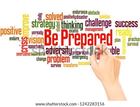 Be Prepared word cloud hand writing concept on white background.