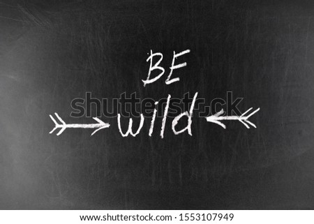 Be wild. Inspirational quote about freedom. Modern calligraphy phrase with hand drawn arrows. #1553107949