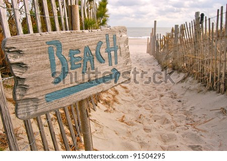 Beach Access with 'Beach' Sign Stock photo ©