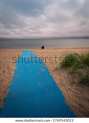 Beach accessibility surface polyester roll in blue color on the beach on Cape Cod Stock photo ©