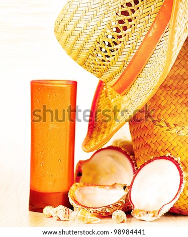 Beach accessories, conceptual image of summertime vacation & travel