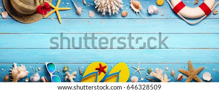 Beach Accessories On Blue Plank - Summer Holiday Banner  #646328509