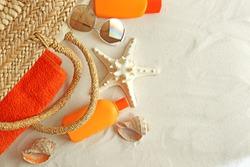 Beach accessories on sand