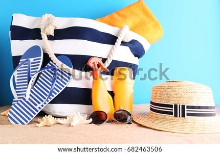 Beach accessories on the beach sand