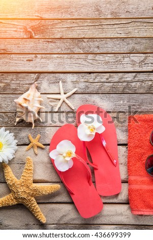 Beach accessories on wooden background, copyspace for text #436699399