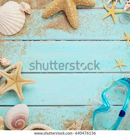beach accessories on wooden board #640476136