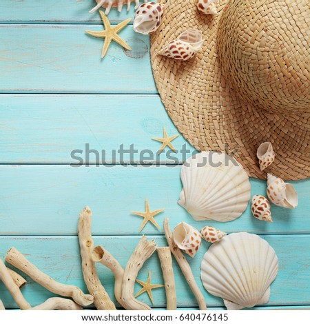 beach accessories on wooden board #640476145