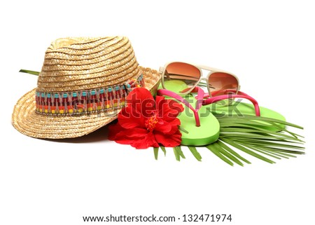 Beach accessories with straw-hat,Sun glasses and Flip Flops
