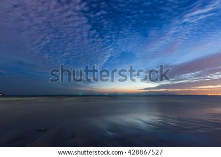 Beach and beautiful cloud after sunset in Rayong, Thailand