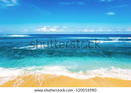 stock photo beach and beautiful tropical sea caribbean summer sea with blue water white clouds on a blue sky 520016980 - Каталог — Фотообои «Море, пляж»