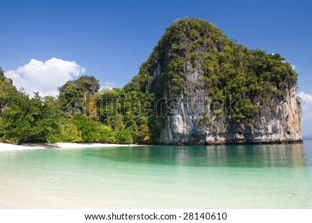 Beach and cliffs of Hong Island, Krabi province, Thailand