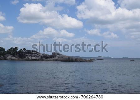 beach and cloudy sky #706264780
