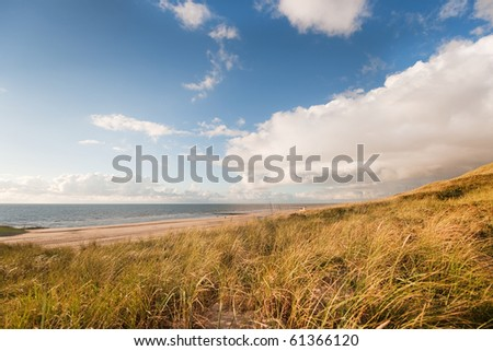 Beach and dunes in Holland by evening and sunset