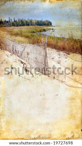 Beach and fencing on a grunge background. Copy-space for your text.