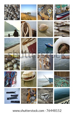 Beach and fishing collage
