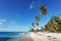 Beach and Fishing village, the Caribbean sea, the Dominican Republic Saona island