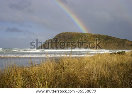 Beach and headland in the Catlins on the South island of New Zealand
