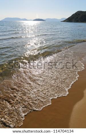 Beach and Ionian Sea at Zakynthos island, Greece.