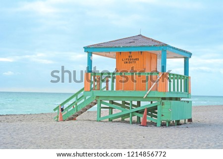 Beach and Lifeguard Tower in South Beach, Miami