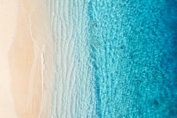 Beach and ocean as a background from top view. Azure water background from top view. Summer seascape from air. Gili Meno island, Indonesia. Travel - image