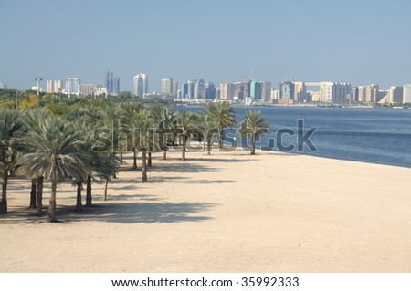 Beach and Palm Trees at Dubai Creek, United Arab Emirates