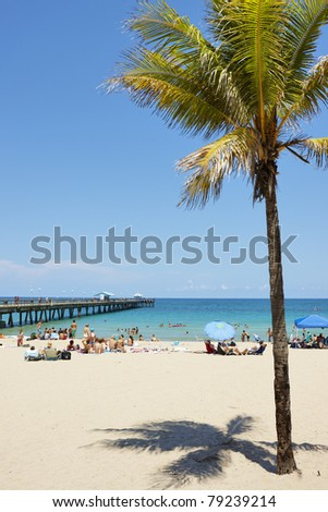 Beach and Pier at Lauderdale by the Sea, Florida, USA