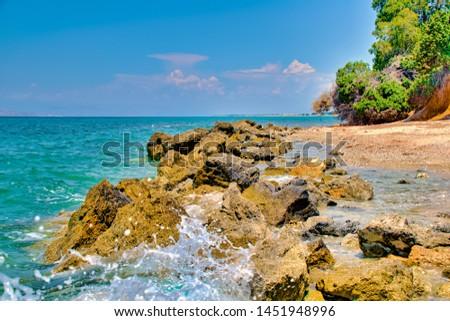 Beach and sea on the island Kos in Greece #1451948996