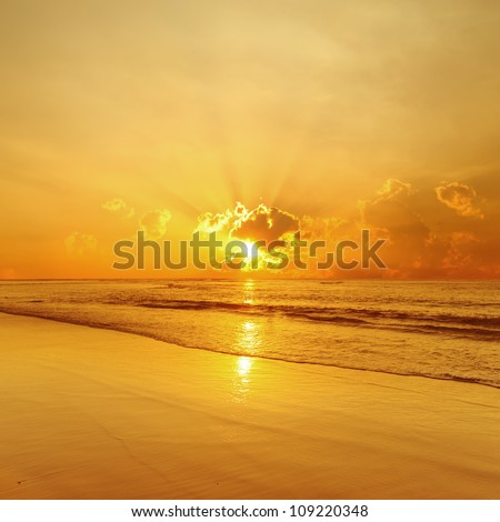 Beach and sea sunset