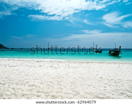 beach and sea with longtail boat, thailand - stock photo
